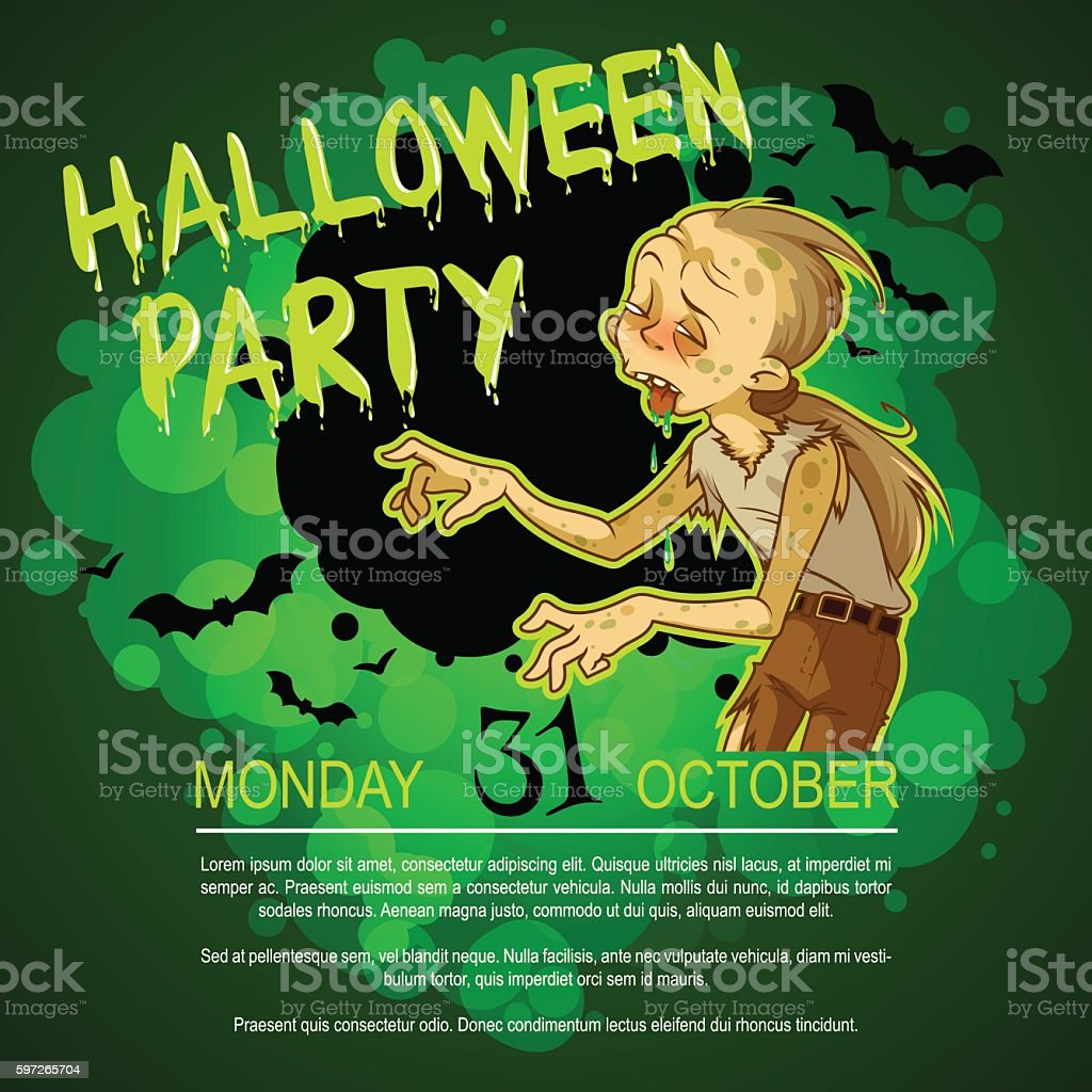 Flyer with zombie for Halloween party. royalty-free flyer with zombie for halloween party stock vector art & more images of advertisement
