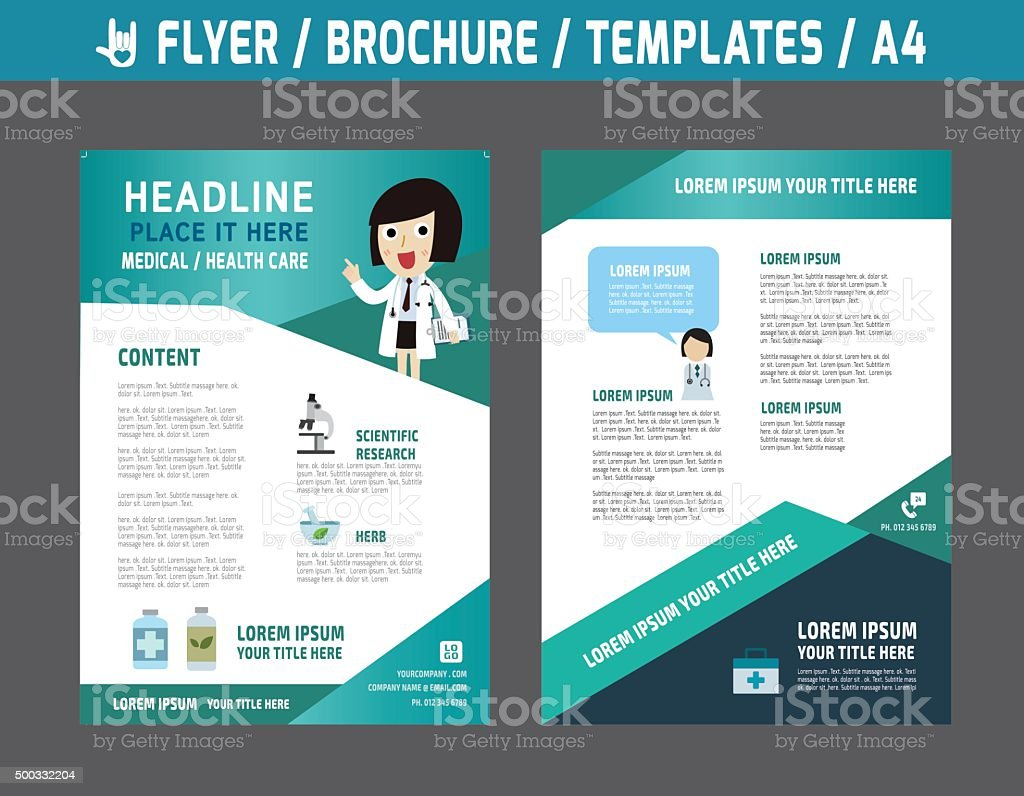 Flyerbrochuretemplatebusiness Health Care stock vector art – Hospital Flyer Template