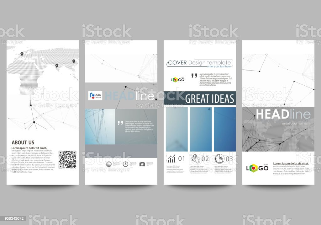 Flyers set, modern banners. Business templates. Cover design template, abstract vector layouts. Geometric blue color background, molecule structure, science concept. Connected lines and dots vector art illustration