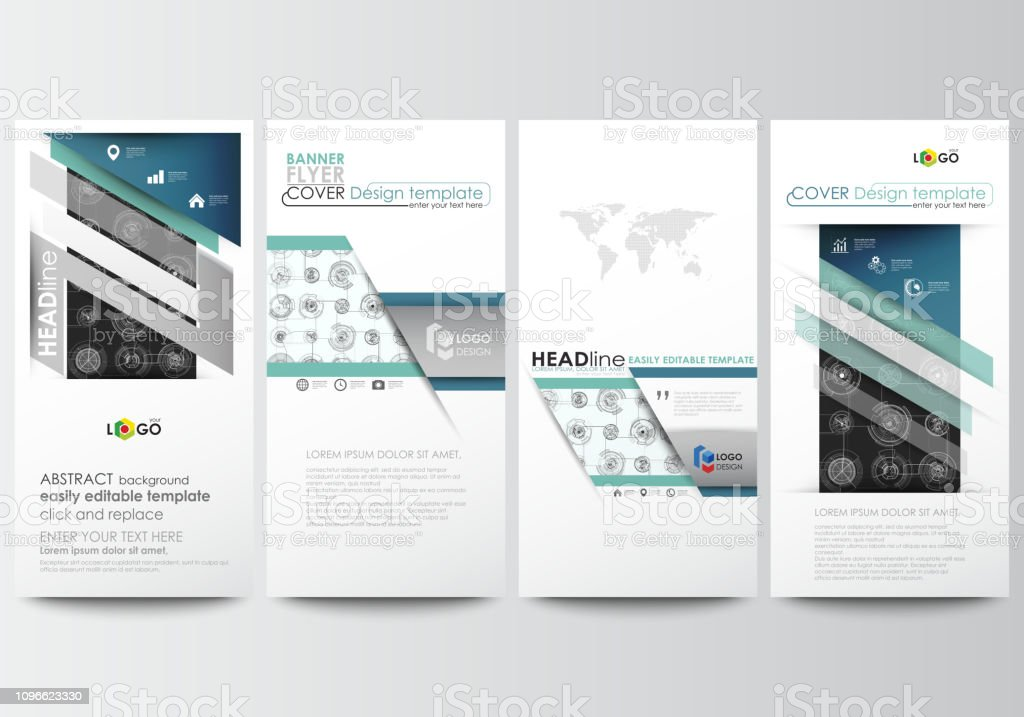 Flyers set, modern banners. Business templates. Cover template, easy...