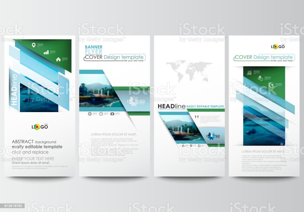 Flyers set, modern banners. Business templates. Cover template. Flat...