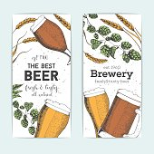 Flyers set with beer glasses, barley and hops. Vector illustration in sketch style. Hand drawn colorful beer vertical banners. Engraved style image.