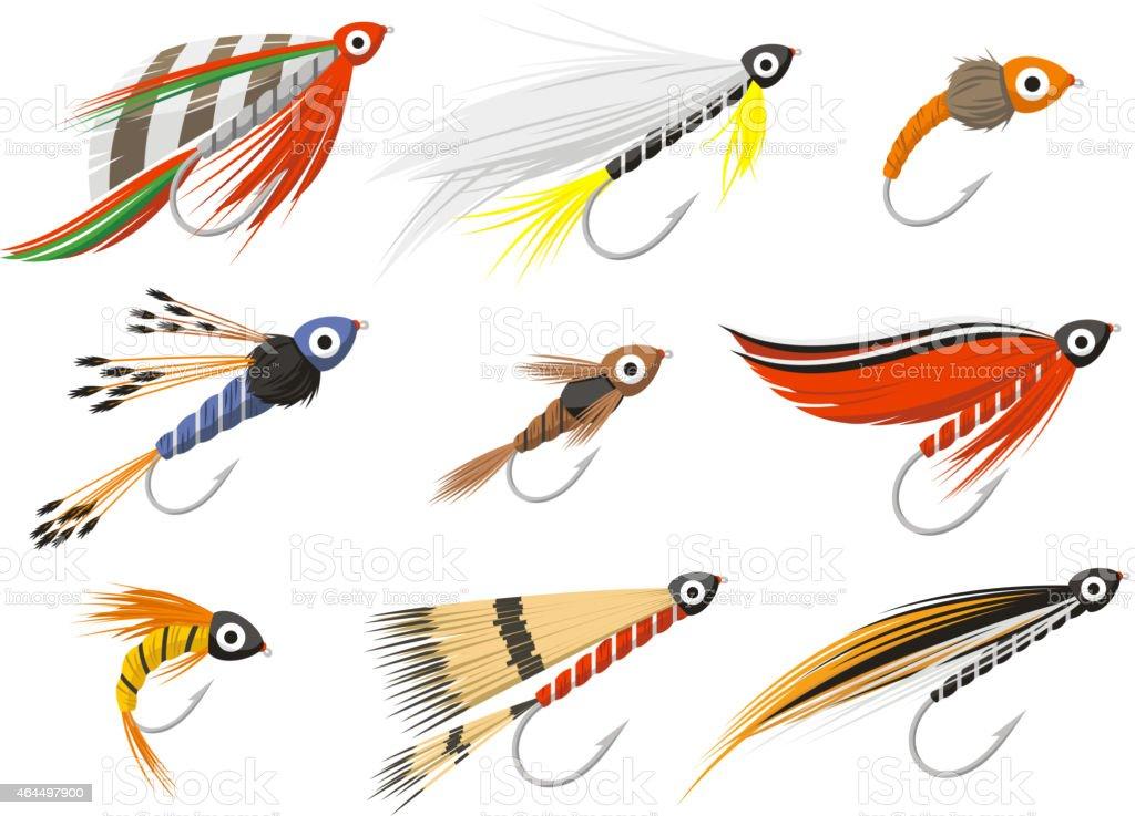 Flyfishing Fly fishing equipment vector art illustration