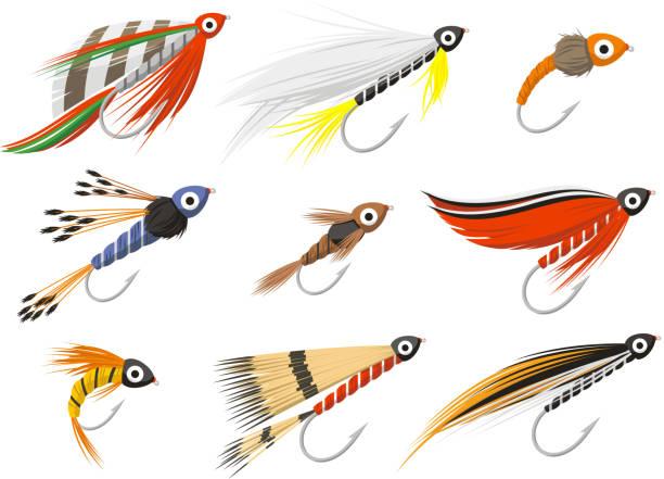 fliegenfischen fliegenfischen ausrüstung - angelhaken stock-grafiken, -clipart, -cartoons und -symbole