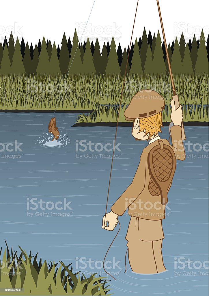 FlyFishingAngler_BackSide royalty-free stock vector art