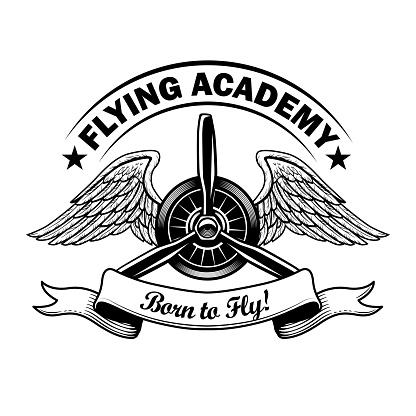 Flying academy label design