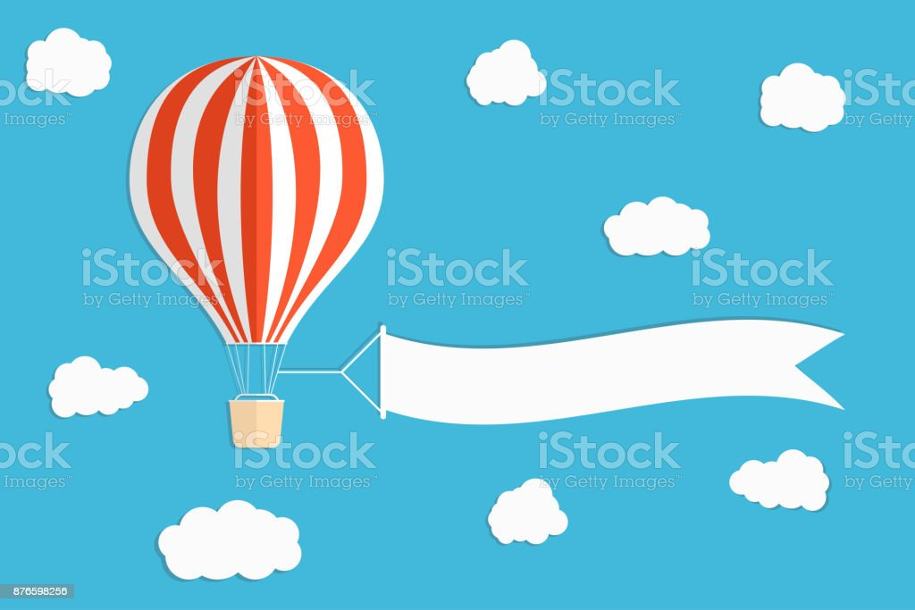 Flying advertising banner. Hot air balloon with vertical banners on blue sky background vector art illustration