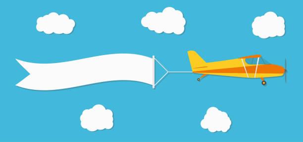 Flying advertising banner. Plane with horizontal banner on blue sky background vector art illustration