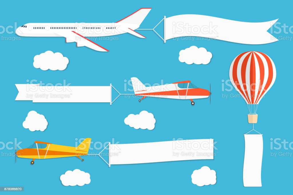 Flying advertising banner. Planes and hot air balloon with horizontal and vertical banners on blue sky background - illustrazione arte vettoriale