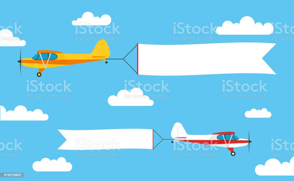 Flying advertising banner, pulled out by light aircraft with - stock vector. vector art illustration