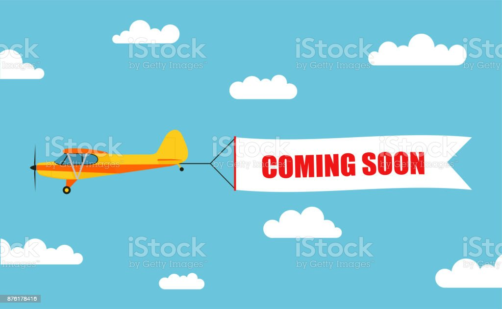 """Flying advertising banner, pulled out by light aircraft with the inscription """"COMING SOON"""" - stock vector."""