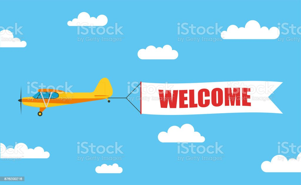 Flying advertising banner, pulled out by light aircraft with the inscription 'WELCOME' - stock vector. vector art illustration