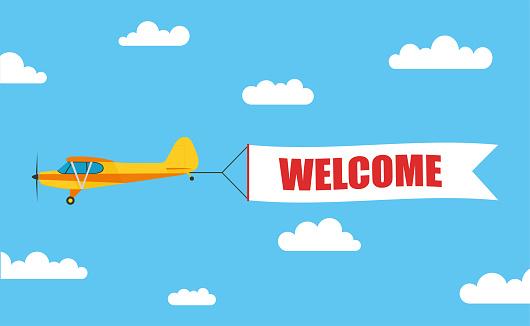비행 광고 배너 비문 환영주식 벡터와 빛 항공기에 의해 밖으로 끌어낸 공란에 대한 스톡 벡터 아트 및 기타 이미지