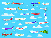 Flying advertising banner. Sky planes banners airplane flight helicopter ribbon template text advertisement message vector background