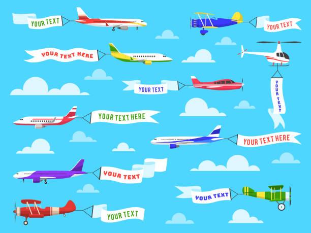 ilustraciones, imágenes clip art, dibujos animados e iconos de stock de banner publicitario volador. sky aviones banners de avión helicóptero de vuelo de la plantilla de cinta de texto conjunto de mensajes - avión