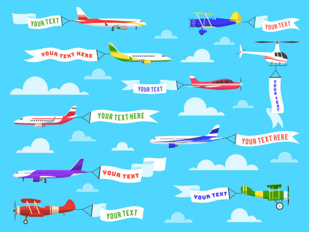 Flying advertising banner. Sky planes banners airplane flight helicopter ribbon template text advertisement message set Flying advertising banner. Sky planes banners airplane flight helicopter ribbon template text advertisement message vector background plane stock illustrations