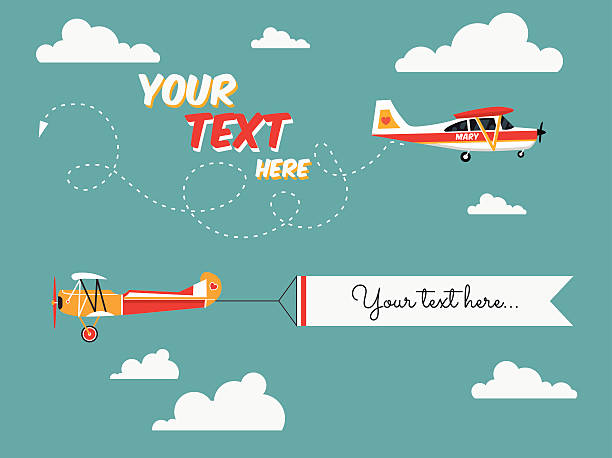 Flying advertising banners pulled by light plane vector art illustration