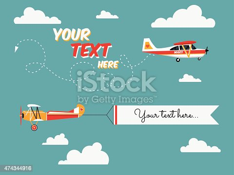 Flying Advertising Banners Pulled By Light Plane Stock
