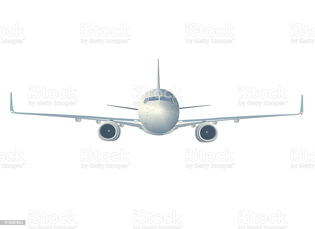 Flying  airliner  isolated on white, front view. vector art illustration