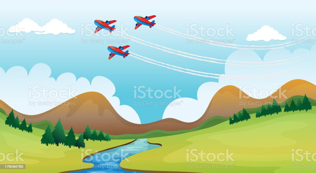 Flying airplains and a beautiful landscape royalty-free flying airplains and a beautiful landscape stock vector art & more images of air force