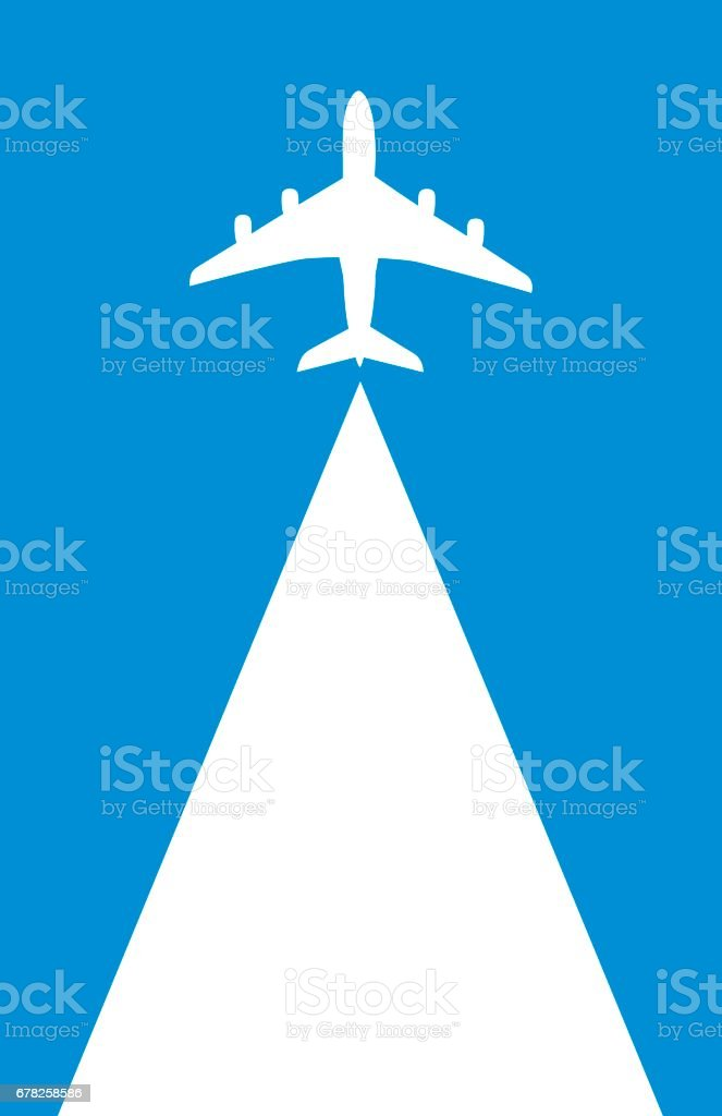 Flying Airplane Backgound vector art illustration