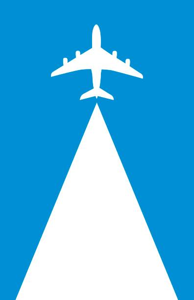Flying Airplane Backgound Vector illustration of a white plane flying upward on a blue background with a white triangular space behind it. private airplane stock illustrations