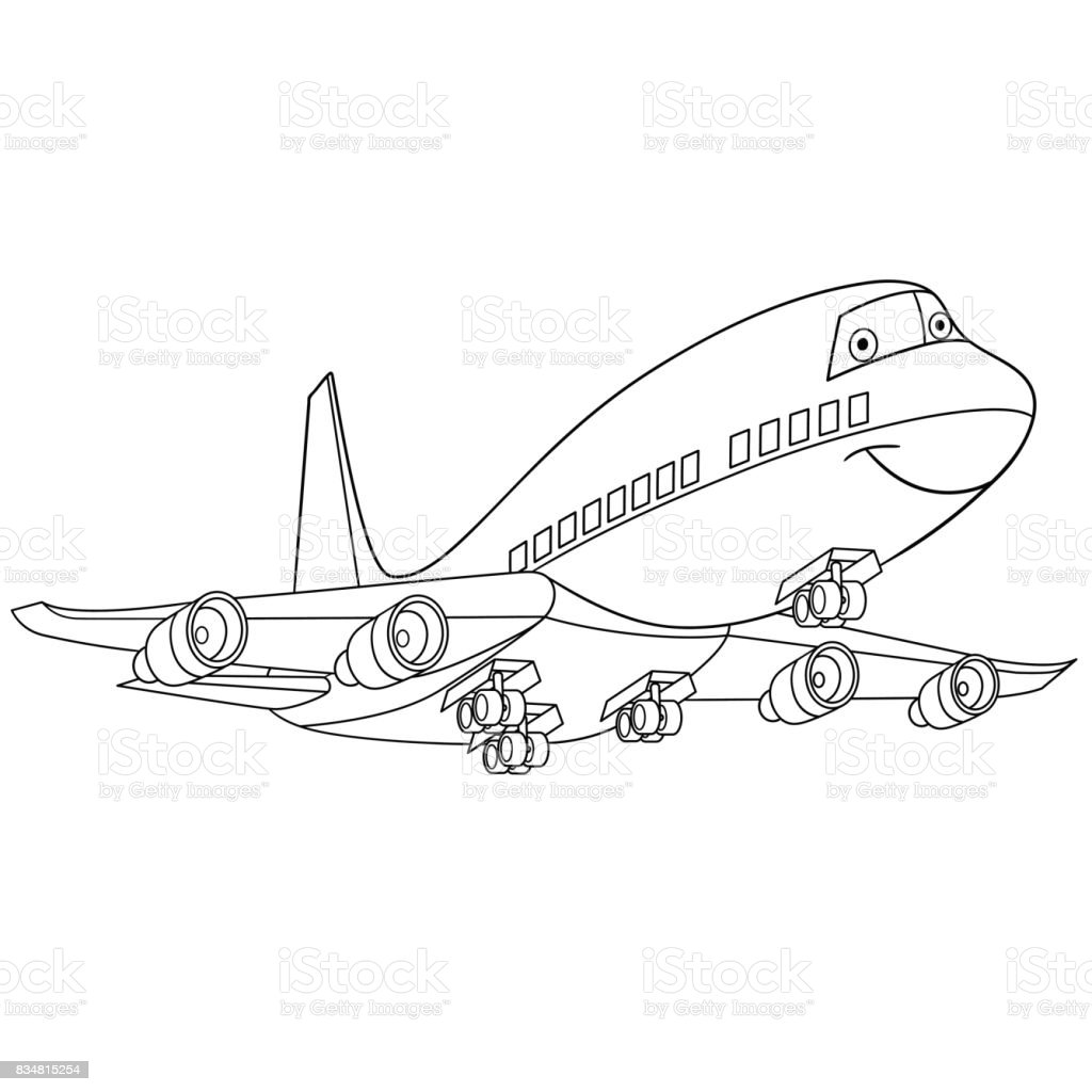 Flying Airplane Coloring Stock Illustration Download Image Now
