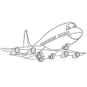 Coloring page of cartoon flying airplane (passenger airliner). Coloring book page for kids and children.