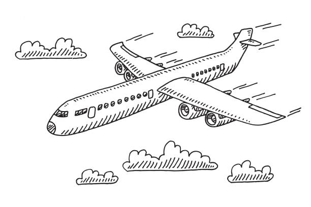 Top 60 Black And White Plane Clip Art Vector Graphics And