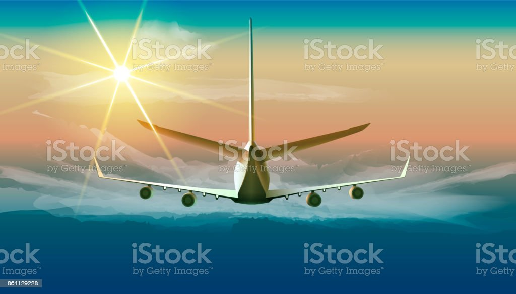 Flying airplane in the sky. Vector illustration of jet flying in sunny blue sky in back view. royalty-free flying airplane in the sky vector illustration of jet flying in sunny blue sky in back view stock vector art & more images of aerospace industry