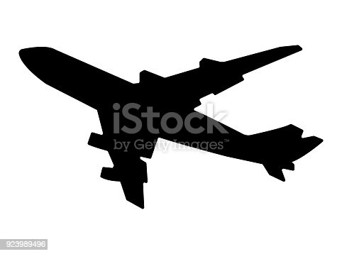 Flying airplane silhouette illustration