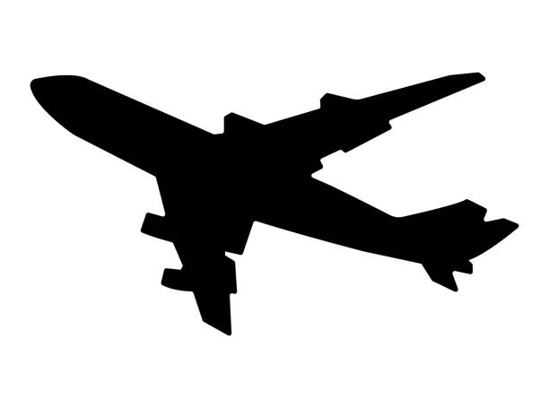 illustrations, cliparts, dessins animés et icônes de illustration de silhouette vol avion - avion