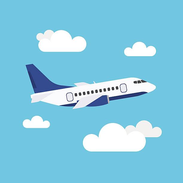ilustraciones, imágenes clip art, dibujos animados e iconos de stock de flying airplane - avión