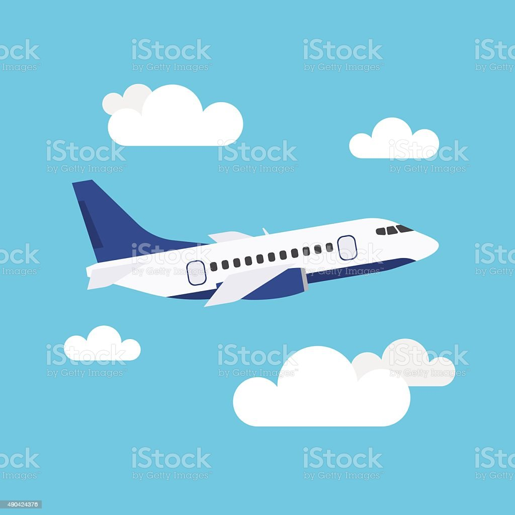 Flying Airplane vector art illustration
