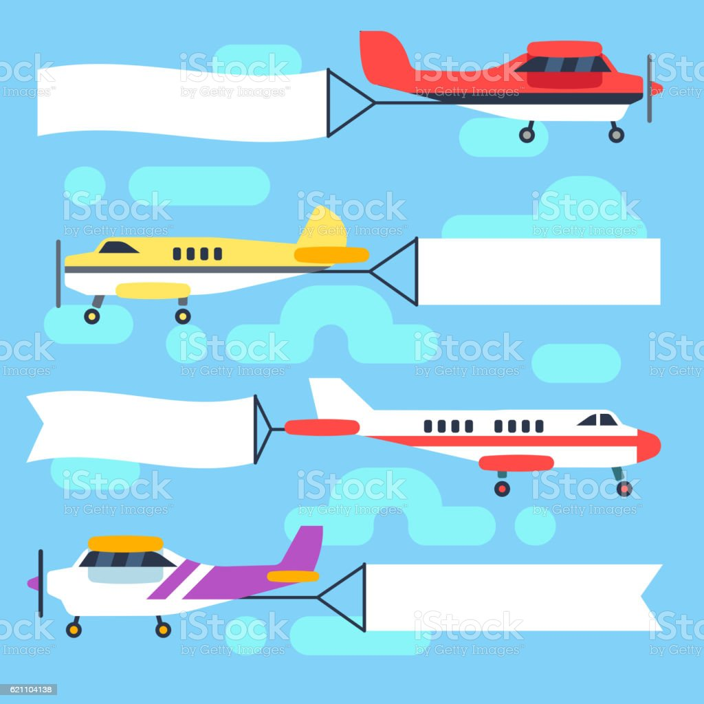 Flying airplanes and helicopters with blank banners flags vector set - ilustración de arte vectorial