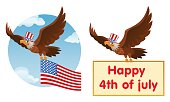 Flying American eagle in the patriotic hat holds American flag or Happy 4th of July banner. Cartoon styled vector illustration. Elements is grouped. No transparent objects.
