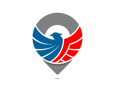 Flying american eagle in the pin location