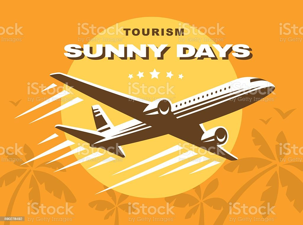 Flying an airplane trip, tropical background vector art illustration