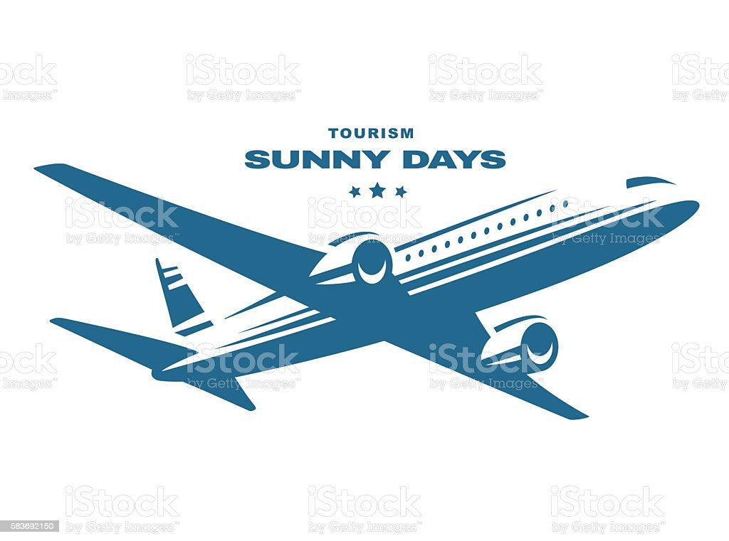Flying an airplane trip, white background vector art illustration