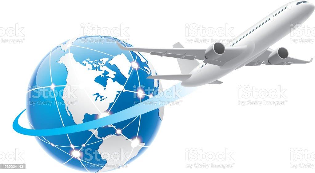 Flying around the world vector art illustration