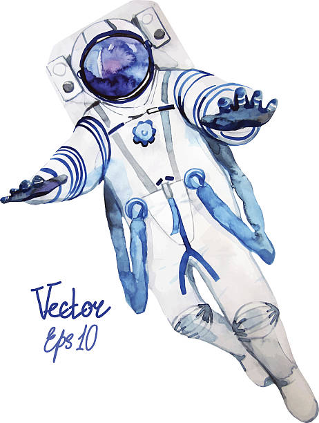 Flying astronaut Flying watercolor astronaut isolated on white background astronaut floating in space stock illustrations