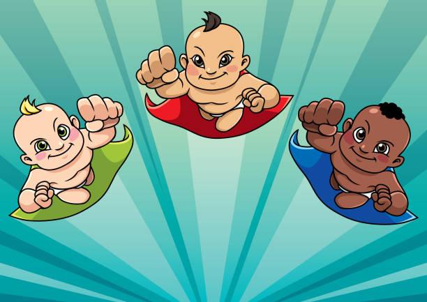 ilustrações de stock, clip art, desenhos animados e ícones de flying babies - baby super hero