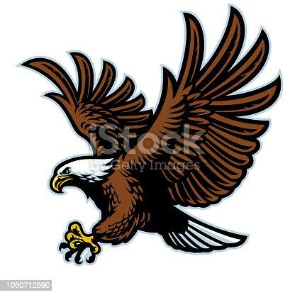 vector of flying bald eagle mascot