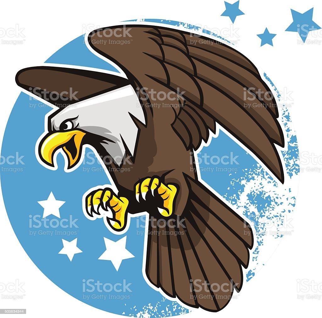 Flying águila de cabeza blanca - ilustración de arte vectorial