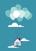 vector illustration - Balloons taking a house up