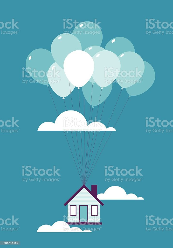 Flying balloon house vector art illustration