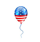 Illustration Flying Balloon in American Flag Colors for Design for Natioan Holidays - Vector