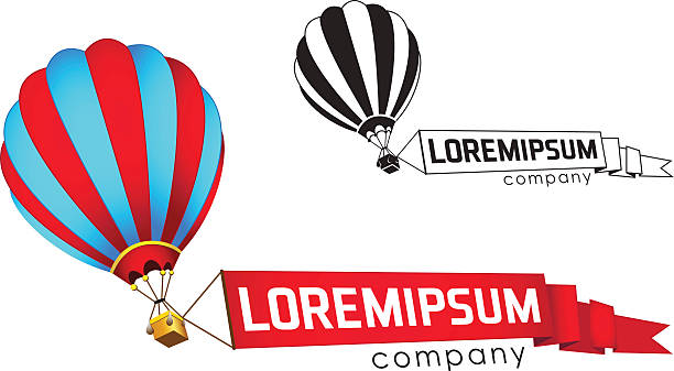 Flying balloon with a banner Flying balloon with a banner, vector icon hot air balloon stock illustrations