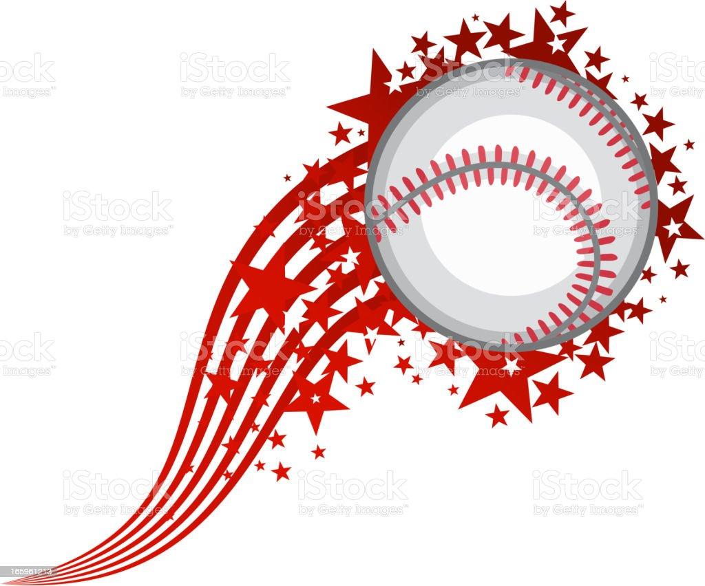 Flying Baseball Ball vector art illustration