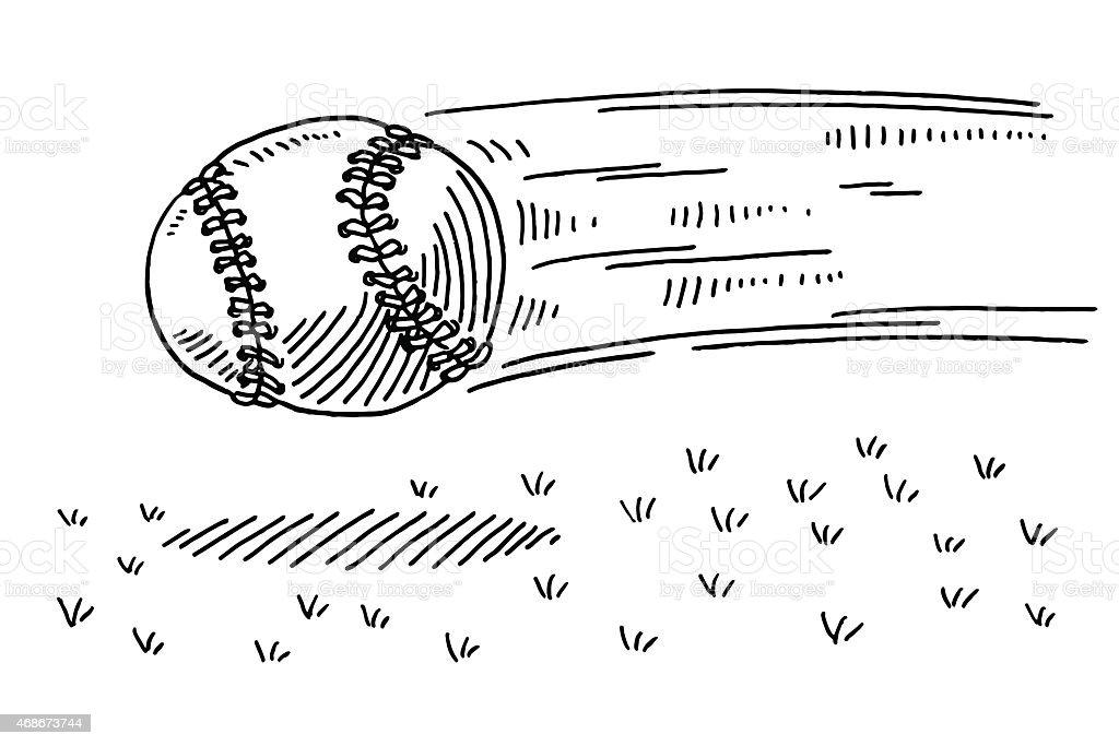 Flying Baseball US Sport Drawing vector art illustration